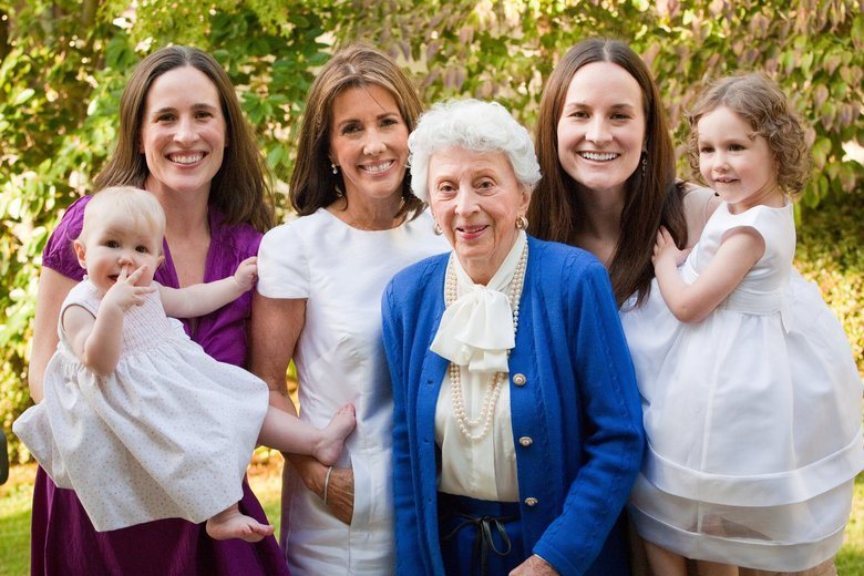 Four generations: Barbara Blethen, shown in 2011 with granddaughter Kerry Blethen Quinn, far left, holding her daughter Lily Quinn; Debbie Blethen; and granddaughter Courtney Blethen Riffkin, holding her niece, Kerry Blethen's daughter Alden Quinn. 3.  (Stephanie Cristalli Photography)