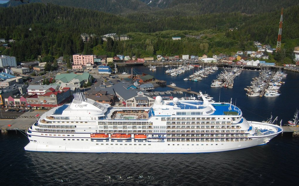The Regent Seven Seas Navigator cruise ship is seen in this file photo in port at Ketchikan, Alaska. (Ken Lambert / The Seattle Times, file)