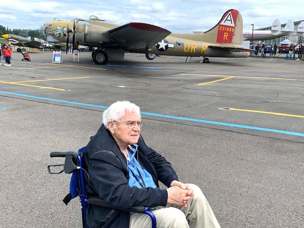 James Thompson at a World War II plane exhibit at Boeing Field last fall. (Family of James Thompson)