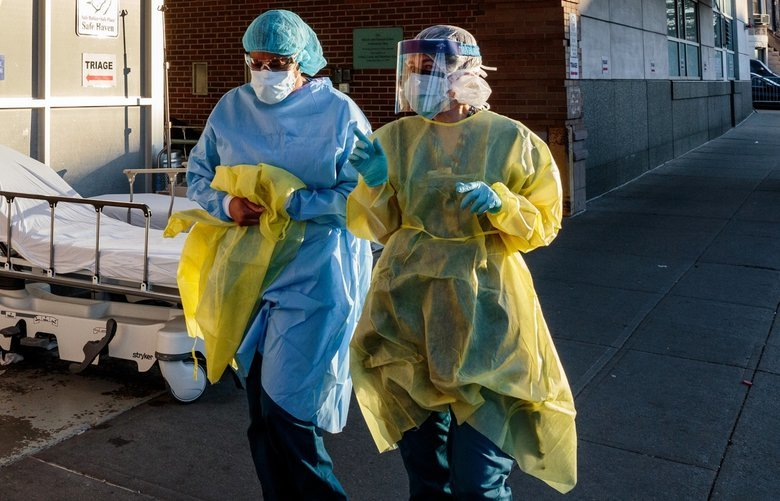 Medical workers at Maimonides Medical Center in New York, April 11, 2020. For the disease that drives the coronavirus pandemic, certain ironclad emergency medical practices have dissolved almost overnight. (Sarah Blesener/The New York Times) XNYT39 XNYT39