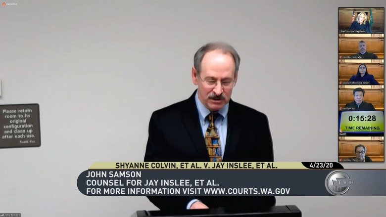 John Samson, an assistant state attorney general, argued in Thursday's state supreme court video hearing that Gov. Jay Inslee and the Department of Corrections have already taken reasonable steps to protect people in prisons from the novel coronavirus. (TVW)