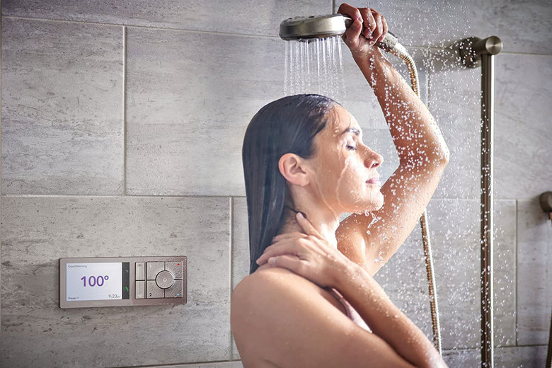 The U by Moen Shower 2-Outlet Digital Shower Controller allows shower control from voice, phone or controller. (Courtesy of Moen)