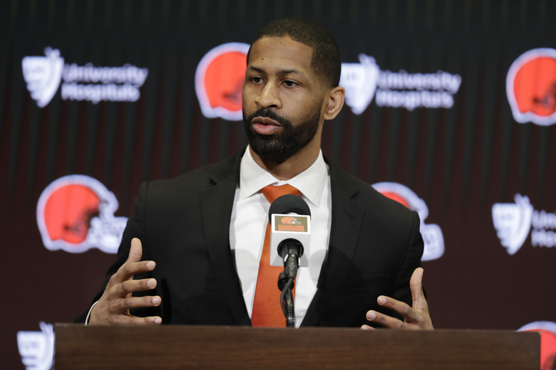 "FILE – In this Feb. 5, 2020, file photo, Cleveland Browns general manager Andrew Berry speaks during a news conference at the NFL football team's training camp facility in Berea, Ohio. The Browns first-time general manager said Friday, April 10, 2020, that he's not worried about any logistical challenges that may arise during the upcoming draft, which has been forced to go virtual due to the COVID-19 pandemic. Berry said the Browns are prepared for all scenarios and he's confident the team can handle any worst-case, ""Armageddon"" scenarios while picking players.(AP Photo/Tony Dejak, File)"