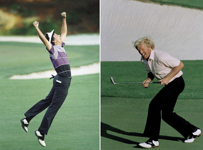 FILE – At left, in an April 12, 1987, file photo, Larry Mize jumps in the air after making the winning shot in a sudden death playoff over Seve Ballesteros and Greg Norman to win the Masters golf tournament in Augusta, Ga. At right, also in an April 12, 1987, file photo, Greg Norman reacts to a missed birdie shot on the 18th hole during the final round of the Masters in Augusta. (AP Photo/File)
