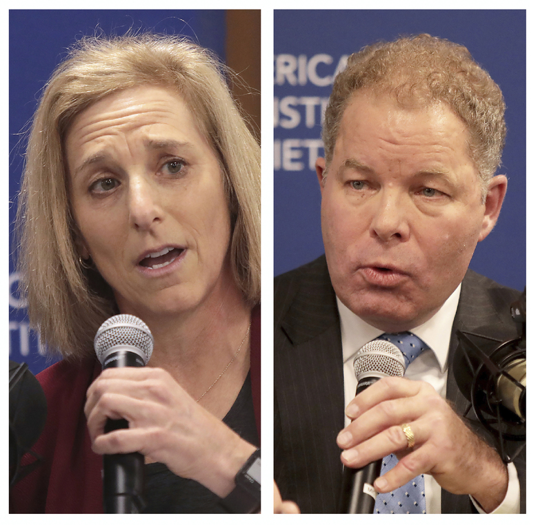 FILE – This combination of Nov. 19, 2019 file photos shows Dane County Circuit Court Judge Jill Karofsky, left, and Wisconsin Supreme Court Justice Daniel Kelly, during a candidate's forum for a seat on the state Supreme Court.  Clerks will begin counting ballots Monday, April 13, 2020, nearly a week after votes were cast in Wisconsin's contentious Supreme Court race.   (John Hart/Wisconsin State Journal via AP, File)