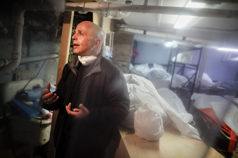 Pat Marmo, owner of Daniel J. Schaefer Funeral Home, is interviewed in his body holding facility, hoping for assistance in handling the overflow of clients stemming from COVID-19 deaths, Thursday, April 2, 2020, in the Brooklyn borough of New York. Like many funeral homes in New York and around the globe, Marmo's business is in crisis. (AP Photo/John Minchillo)