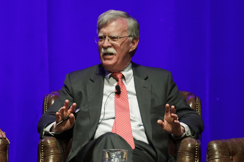 """FILE – In this Wednesday, Feb. 19, 2020, file photo, former national security adviser John Bolton takes part in a discussion on global leadership at Vanderbilt University, in Nashville, Tenn. Bolton's book """"What Happened In the Room,"""" has been delayed from May 12 to June 23 according to listings from Wednesday, April 29, 2020, on the website of publisher Simon & Schuster and booksellers like Amazon and Barnes & Noble. (AP Photo/Mark Humphrey, File)"""