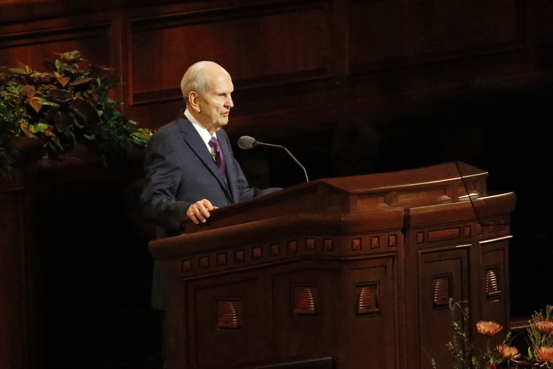 FILE – In this Oct. 5, 2019, file photo, President Russell M. Nelson speaks during The Church of Jesus Christ of Latter-day Saints' twice-annual church conference, in Salt Lake City. For the first time in more than 60 years, top leaders from The Church of Jesus Christ of Latter-day Saints will deliver speeches at the faith's signature conference this weekend without anyone watching in the latest illustration of how the coronavirus pandemic is altering worship practices around the world. The twice-yearly conference normally brings some 100,000 people to the church conference center in Salt Lake City to watch five sessions over two days. This event, though, will be only a virtual one. (AP Photo/Rick Bowmer, File)