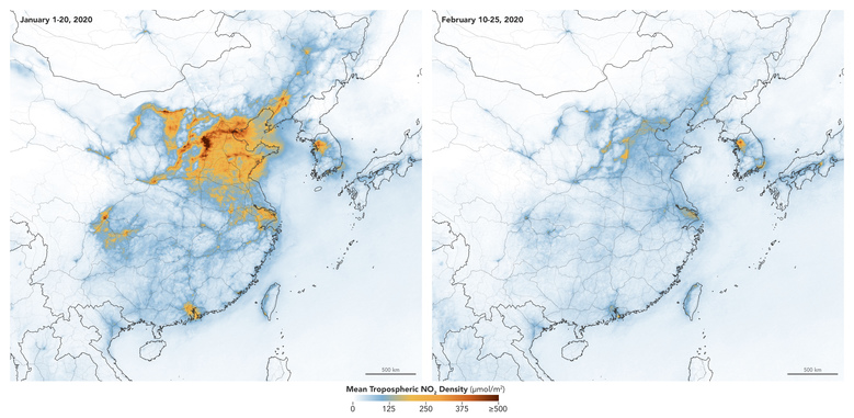 These maps made available by NASA show concentrations of nitrogen dioxide across China from January 1-20, 2020, before the quarantine against the COVID-19 coronavirus, and February 10-25, during the quarantine. NO2 is a noxious gas emitted by motor vehicles, power plants, and industrial facilities. (Joshua Stevens/NASA Earth Observatory, European Space Agency via AP)