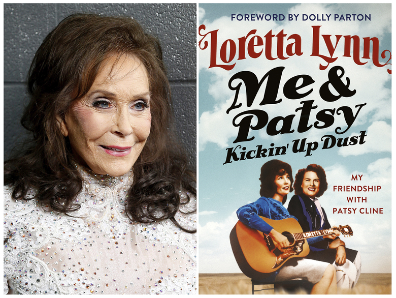 "This combination photo shows Loretta Lynn posing for a photo at the Municipal Auditorium in Nashville, Tenn. on Feb. 10, 2016, left, and the cover image for her book ""Me & Patsy Kickin' Up Dust: My Friendship with Patsy Cline,"" which was released on Tuesday, April 7.  (Photo by Donn Jones/Invision/AP, left, and Grand Central via AP)"
