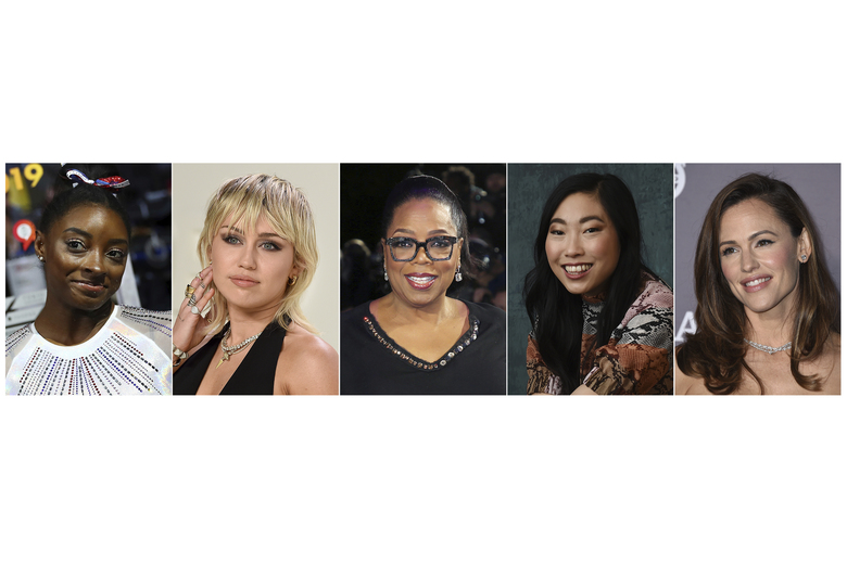 """REMOVES REFERENCE TO CYRUS' SONG BEING NEW This combination photo shows, from left, U.S. gymnast Simone Biles, actress-singer Miley Cyrus, media mogul Oprah Winfrey, actress Awkwafina and actress Jennifer Garner, who will participate in the Class of 2020 multi-hour graduation streaming event on Facebook and Instagram on May 15. Winfrey will be the commencement speaker and Awkwafina, Garner, Biles, along with rapper Lil Nas X, will offer words of wisdom to the graduating class. Cyrus will sing """"The Climb.""""  (AP Photo)"""