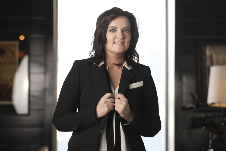 """In this March 5, 2020, photo, Brandy Clark poses in Nashville, Tenn., to promote her third album """"Your Life is a Record."""" (AP Photo/Mark Humphrey)"""