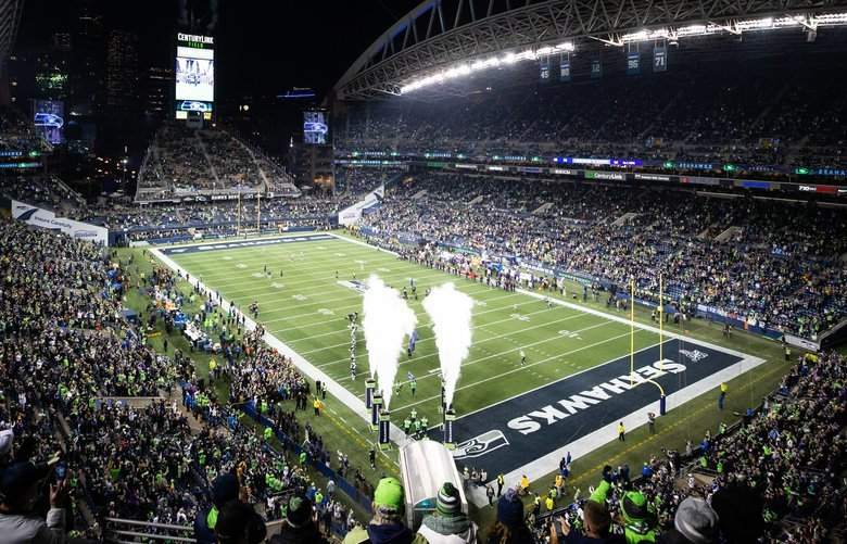 The Seattle Seahawks take to the field at the start of the Monday Night Football game between the Seattle Seahawks and the Minnesota Vikings at CenturyLink Field in Seattle on Dec. 2, 2019. 212267