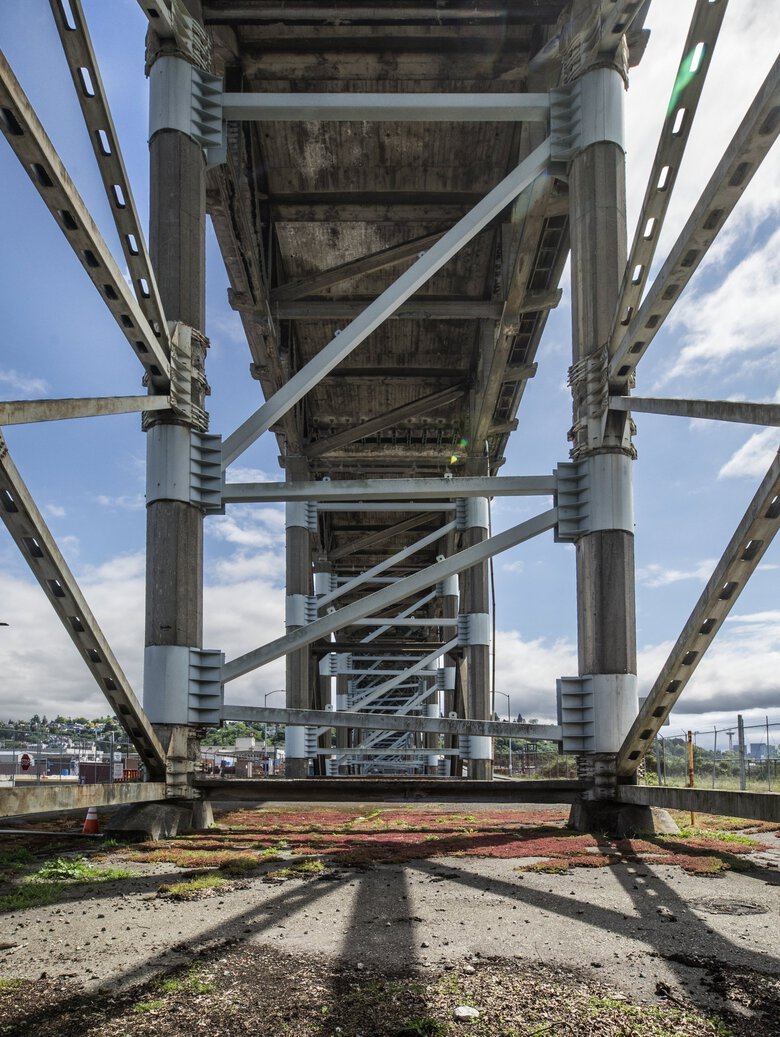 This portion of the Magnolia Bridge over Interbay has been reinforced. (Steve Ringman / The Seattle Times)