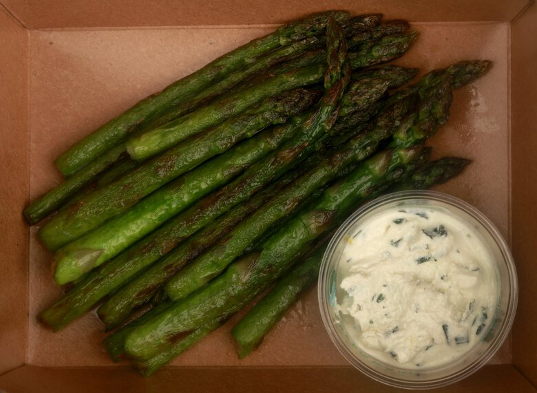 Limited time only, takeout only: local asparagus with basil ricotta from Artusi/Spinasse.  (Erika Schultz / The Seattle Times)
