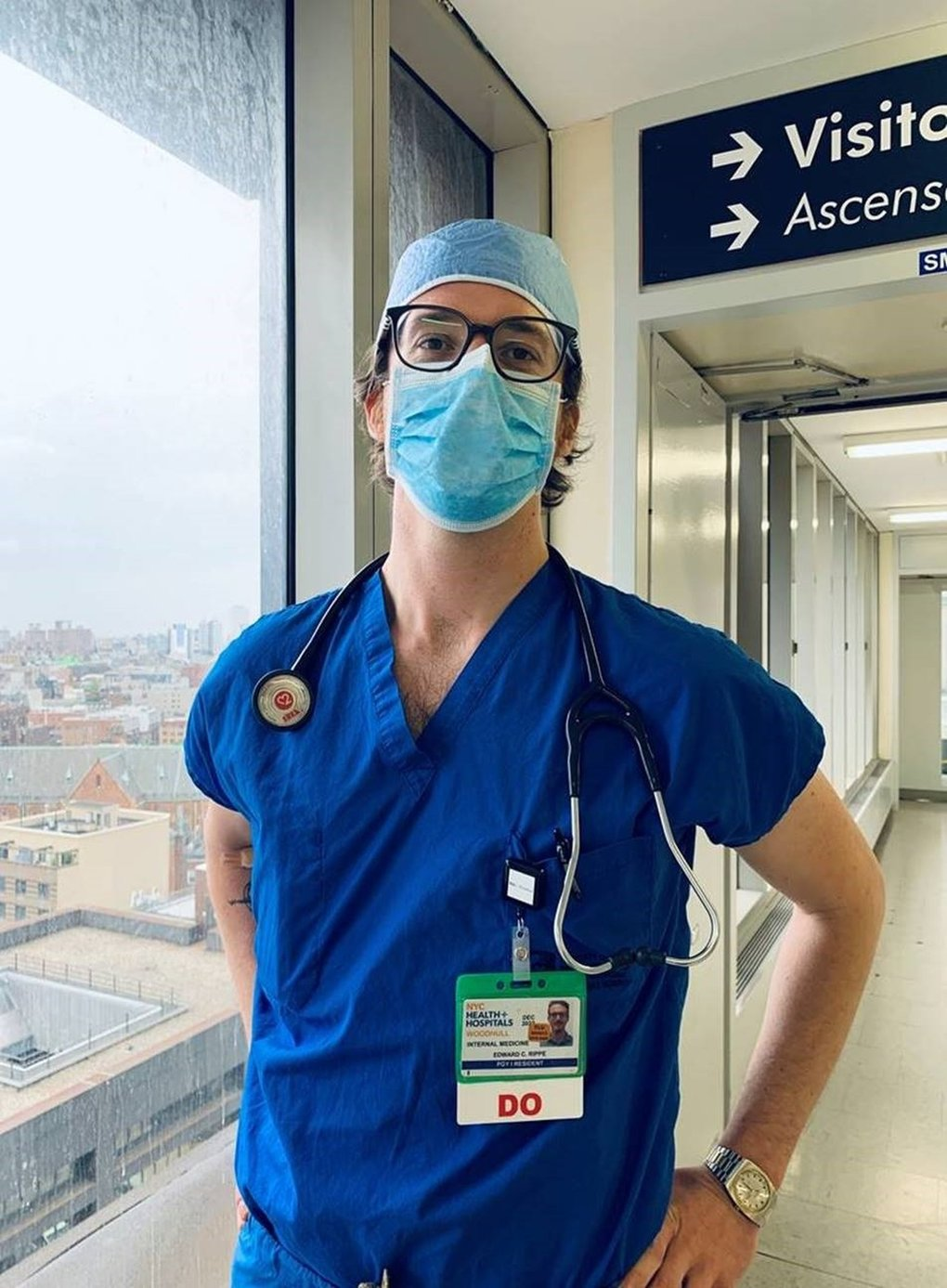 Dr. Edward Rippe, who is from Shoreline, is a first-year medical resident at Woodhull Medical Center in Brooklyn. He contracted COVID-19 in March while treating patients. (Courtesy of Edward Rippe)