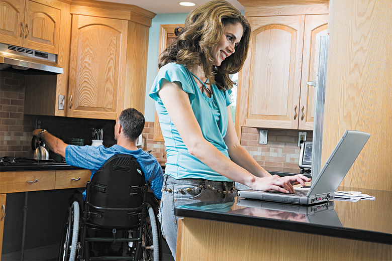 Those who depend on wheelchairs or walkers need lower countertops than people who can stand, so installing counters at multiple levels will have long-term advantages. (Getty Images)