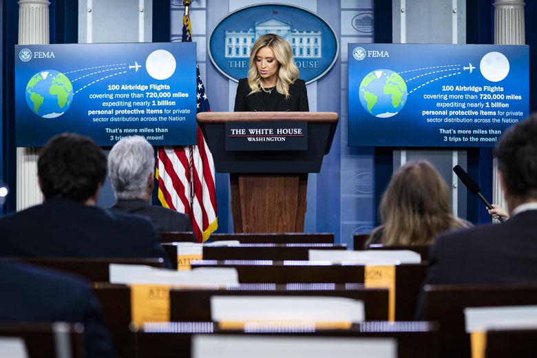 White House press secretary Kayleigh McEnany speaks about Project Airbridge in her first formal press briefing  at the White House on May 1. (Washington Post photo by Jabin Botsford).