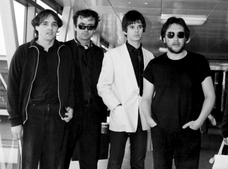 FILE – In this July 6, 1980 file photo, from left, Dave Greenfield, Hugh Cornwell, Jean-Jacques Burnel and Jet Black of the group The Stranglers pose for a photo. Dave Greenfield, the keyboard player with British punk band The Stranglers and who penned the music to their biggest hit Golden Brown, has died after testing positive for coronavirus. He was 71. The band's official website announced that Greenfield died on Sunday, May 3, 2020 after contracting the virus following a stay in hospital for heart problems. (PA via AP, File)