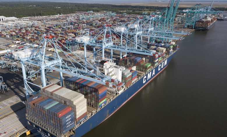 """FILE – In this May 10, 2019, file photop, container ship is unloaded at the Virginia International Gateway terminal in Norfolk, Va. China-US Trade. A Chinese state news agency says U.S. and Chinese trade negotiators promised to create """"favorable conditions"""" for carrying out a truce in their governments' tariff war during a phone call. (AP Photo/Steve Helber, File)"""