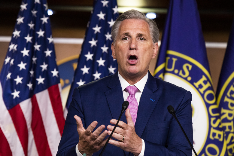 House Minority Leader Kevin McCarthy of Calif. speaks during a news conference on Capitol Hill, Thursday, May 7, 2020, in Washington. (AP Photo/Manuel Balce Ceneta)