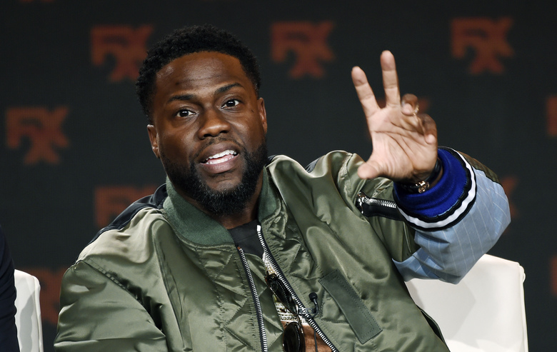FILE – In this Jan. 9, 2020 file photo shows Kevin Hart during an interview in Pasadena, Calif.  Hart offered a walk-on role in a future film to a health-care worker in the COVID-19 fight. New Jersey anesthesiologist Henry Law, was randomly selected as the winner in an All In Challenge contest. The challenge raises money for organizations that are feeding the hungry during the coronavirus pandemic. (AP Photo/Chris Pizzello, File)