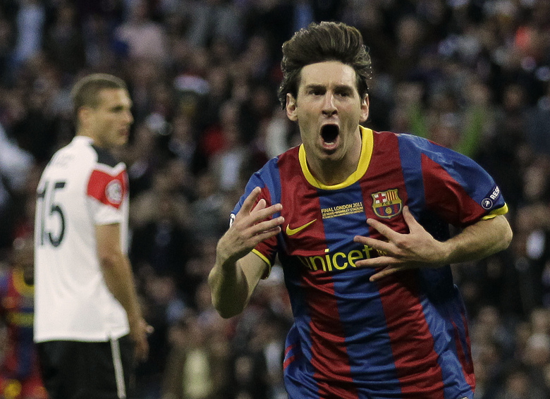 FILE – In this May 28, 2011 file photo, Barcelona's Lionel Messi celebrates scoring against Manchester United during their Champions League final soccer match at Wembley Stadium, London. L is for Lionel Messi. The driving force behind Barcelona's most recent successes, Lionel Messi's current total of 114 goals is second only to Cristiano Ronaldo, and sets them both up as the joint greatest players of this generation. (AP Photo/Matt Dunham, File)