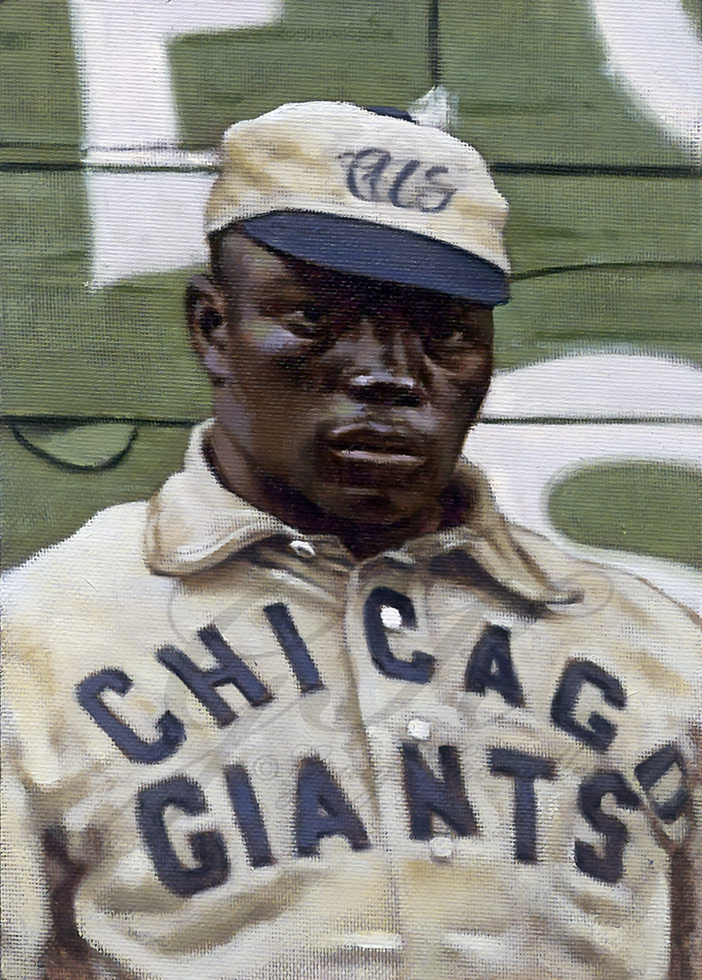 "This undated photo provided by Graig Kreindler shows his painting of Andrew ""Rube"" Foster, known as the ""father of black baseball."" The Foster portrait is one of 230 Kreindler portraits in the exhibit called ""Black Baseball in Living Color: The Art of Graig Kreindler"" at the Negro Leagues Baseball Museum in Kansas City, Mo. Foster was a pitcher, manager and founder of the Negro Leagues. The museum shut its doors in mid-March due to concerns about the spread of the coronavirus and hopes to reopen in June. (Courtesy of Graig Kreindler via AP)"