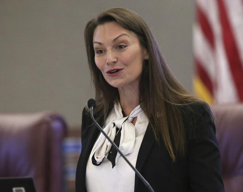 """FILE – In this Oct. 29, 2019 photo, Agriculture commissioner Nikki Fried speaks at a pre-legislative news conference in Tallahassee, Fla. Fried, the only Democrat holding statewide office in Florida, upbraided Republican Gov. Ron DeSantis on Thursday, May 28, 2020, for keeping the state Cabinet """"in the dark"""" by failing to convene the panel to discuss the state's response to the coronavirus pandemic. (AP Photo/Steve Cannon, File)"""