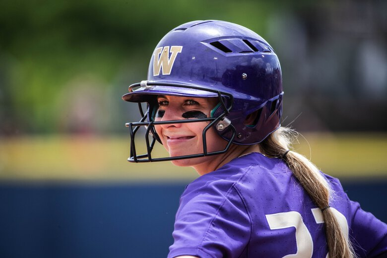 Washington's Sis Bates stands on 3rd.  The Minnesota Golden Gophers played the Washington Huskies in the Women's College World Series softball action Saturday, June 1, 2019, in Oklahoma City, OK. 210454 (Dean Rutz / The Seattle Times)