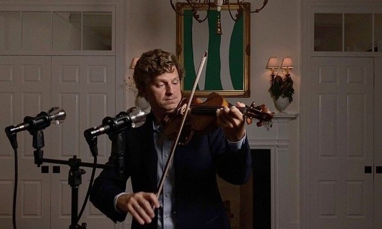 James Ehnes, Seattle Chamber Music Society artistic director, in the recording studio he set up while sequestered at his home near Tampa, Florida, where he just completed recording Bach's solo violin music. (Courtesy of Kate Ehnes)