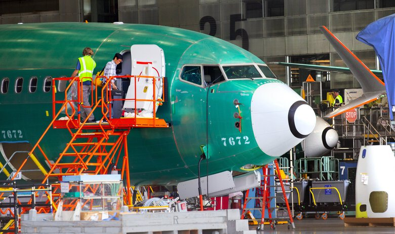 A Boeing 737 MAX under assembly inside the Renton factory on July 24, 2019. (Mike Siegel / The Seattle Times)