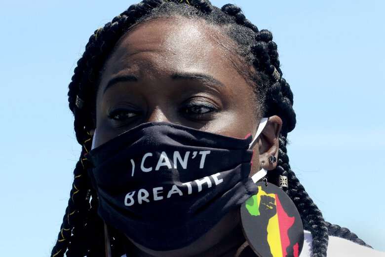 Katrina Johnson is a cousin of Charleena Lyles and spokesperson for the family. She says it's been more than three years since Lyles' death and asks why two 6-foot, 4-inch police officers couldn't handle a 5-foot, 3-inch woman. (Alan Berner / The Seattle Times)
