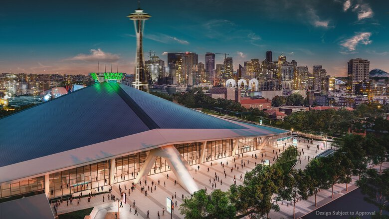 A rendering of a design proposal of Climate Pledge Arena, where Amazon has purchased the naming rights to KeyArena rather than using the company's name. (Illustration courtesy of NHL Seattle)