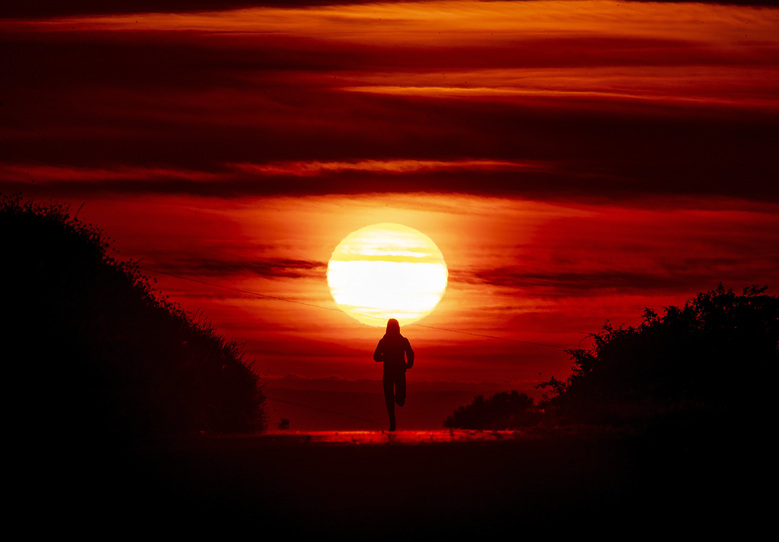 A woman runs on a small road between acres of fields as the sun rises in Frankfurt, Germany, Sunday, June 21, 2020. (AP Photo/Michael Probst)