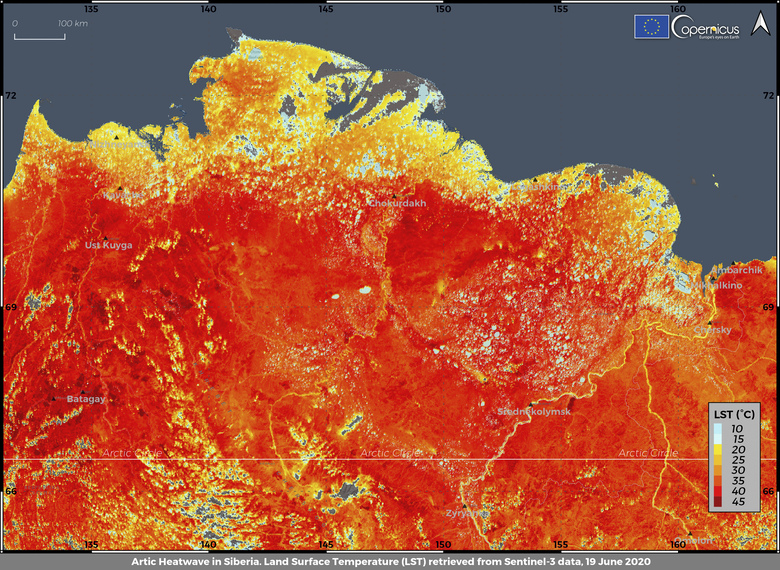 This photo taken on Friday, June 19, 2020 and provided by ECMWF Copernicus Climate Change Service shows the land surface temperature in the Siberia region of Russia. A record-breaking temperature of 38 degrees Celsius (100.4 degrees Fahrenheit) was registered in the Arctic town of Verkhoyansk on Saturday, June 20 in a prolonged heatwave that has alarmed scientists around the world. (ECMWF Copernicus Climate Change Service via AP)