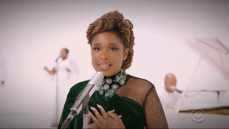 In this video grab issued Sunday, June 28, 2020, by BET, Jennifer Hudson performs during the BET Awards. (BET via AP)
