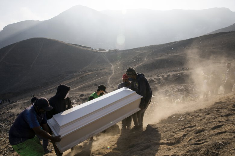 Cemetery workers carry the coffin of Jorge Luis Collahua, during his burial in the section of Nueva Esperanza cemetery reserved for COVID-19 cases, in the outskirts of Lima, Peru, Monday, June 1, 2020. Collahua's family did not want to talk about whether he died of the coronavirus. (AP Photo/Rodrigo Abd)