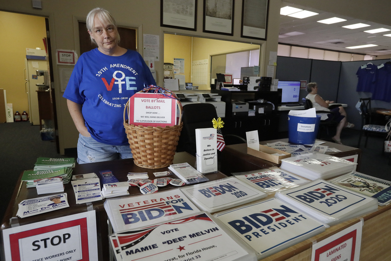 Chris Stanley, leader of The Villages Democrats Club, shows off some of the signs available in Wildwood, Fla. Residents of The Villages say they've never seen anything like the politically inspired hostilities that have surfaced over the past several months. (AP Photo/John Raoux)