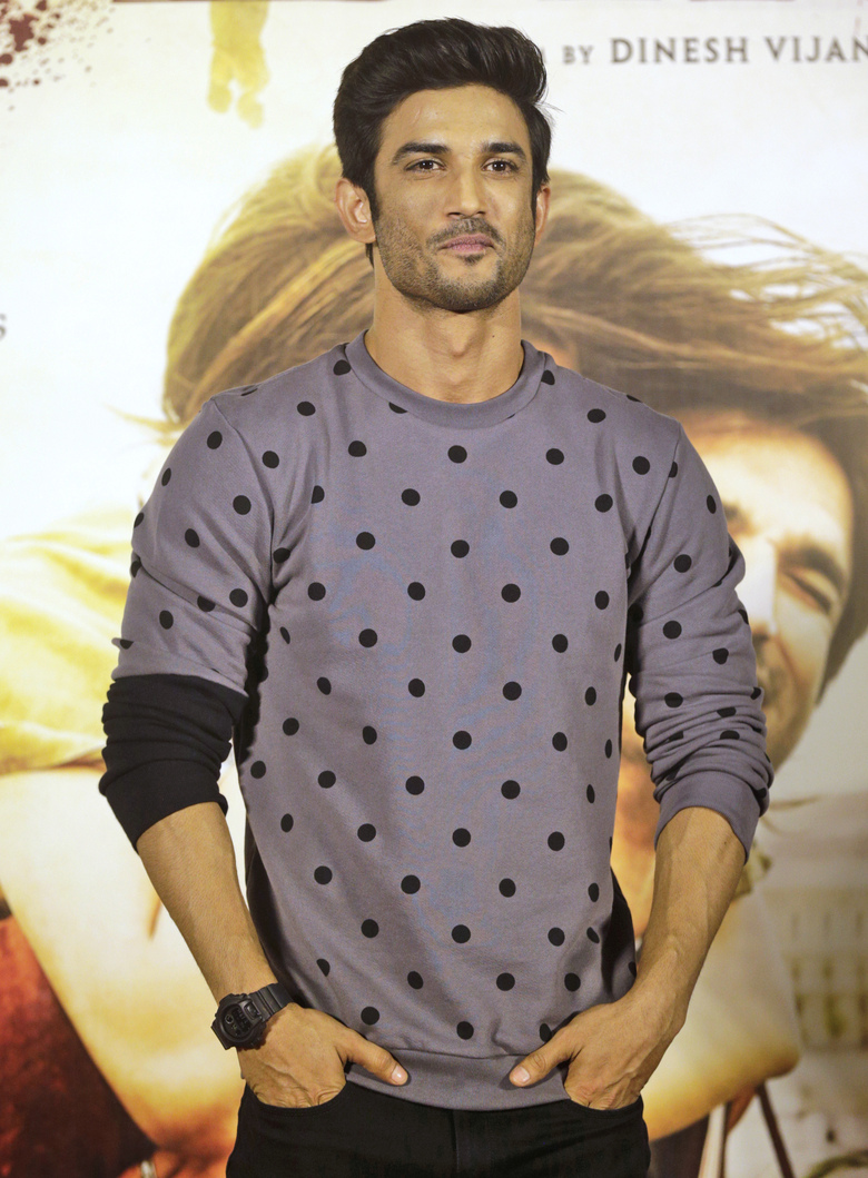 FILE- In this April 17, 2017 file photo, Bollywood actor Sushant Singh Rajput poses during the trailer launch of his film 'Raabta' which means contact in Urdu language, in Mumbai, India. Rajput was found dead at his Mumbai residence on Sunday, Press Trust of India and other media outlets reported. (AP Photo/Rafiq Maqbool, File)