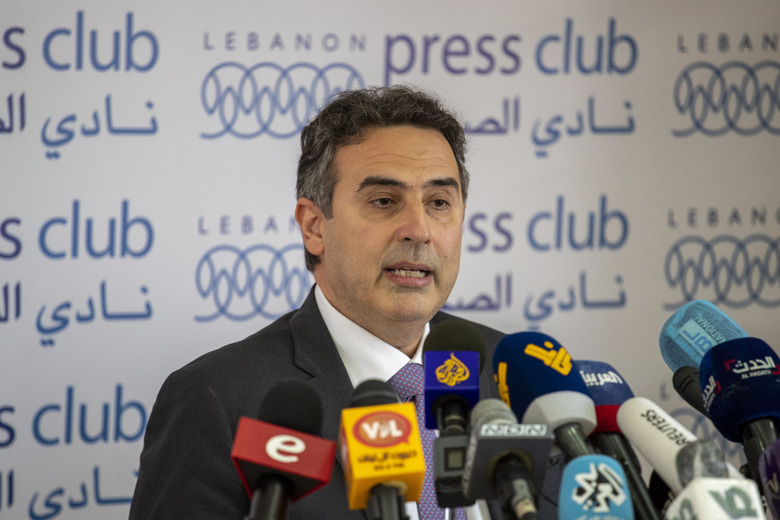 Alain Bifani, the director general of Lebanon's Finance Ministry and a member of the country's team negotiating with the International Monetary Fund, speaks during a press conference, at the Press Club, in Beirut, Lebanon, Monday, June 29, 2020. Bifani who had held the post for 20 years resigned on Monday amid a worsening economic and financial crisis, the ministry said. (AP Photo/Hassan Ammar)