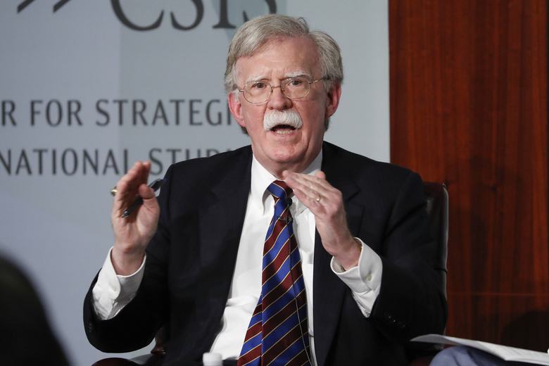 FILE – In this Sept. 30, 2019, file photo, former National security adviser John Bolton gestures while speakings at the Center for Strategic and International Studies in Washington.   A federal judge has ruled, Saturday, June 20, 2020, that former national security adviser John Bolton can move forward in publishing his tell-all book. The Trump administration had tried to block the release because of concerns that classified information could be exposed.(AP Photo/Pablo Martinez Monsivais, File)