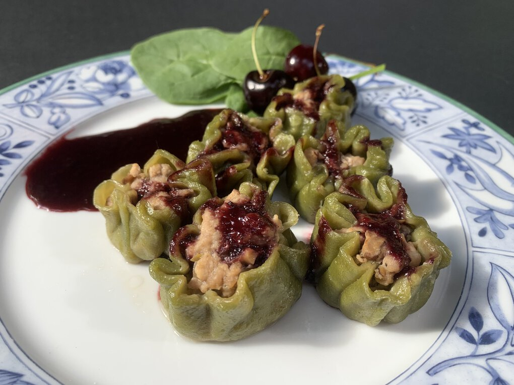 High schooler Lyra Young usually does the Pantry Kitchen Challenge with her mom, but forged out on her own for the first time and used tofu, Joe's O's cereal, cherries and spinach to create this gorgeous green pork and tofu shumai with cherry soy sauce.  (Lyra Young)