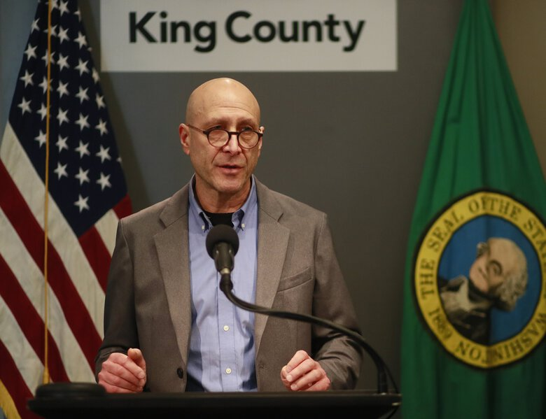 Dr. Jeff Duchin, King County health officer, talks at a March news conference in downtown Seattle about the coronavirus outbreak. (Erika Schultz / The Seattle Times, file)