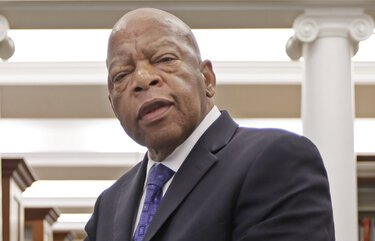 """FILE – This Nov. 18, 2016 file photo shows Rep. John Lewis, D-Ga., in the Civil Rights Room in the Nashville Public Library in Nashville, Tenn. Lewis is the subject of a documentary, """"John Lewis: Get in the Way,"""" airing on PBS on Friday. (AP Photo/Mark Humphrey, File) NYET306"""