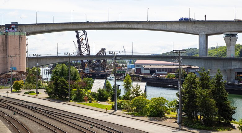 Seattle Mayor Jenny Durkan has declared the cracked high-rise West Seattle Bridge to be a civil emergency. The high-rise bridge has been closed to traffic since March. (Mike Siegel / The Seattle Times)