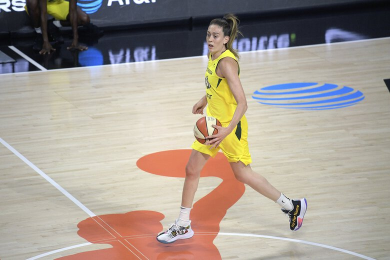 Seattle Storm forward Breanna Stewart brings a ball up the court during the first half of a WNBA basketball game against the New York Liberty, Saturday, July 25, 2020, in Bradenton, Fla. (Phelan M. Ebenhack / The Associated Press)