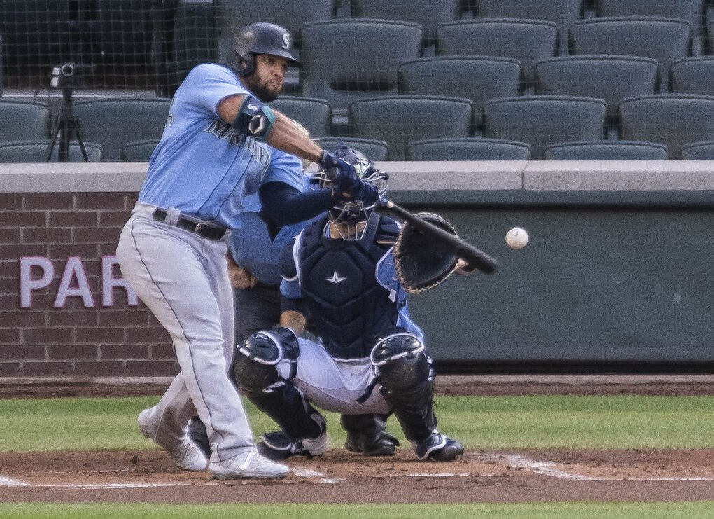 Jose Marmolejos launches a 3-run opposite field homer off Joey Gerber in the 1st inning.  The Seattle Mariners held Summer Camp Tuesday, July 21, 2020 at T-Mobile Park in Seattle, WA. (Dean Rutz / The Seattle Times)