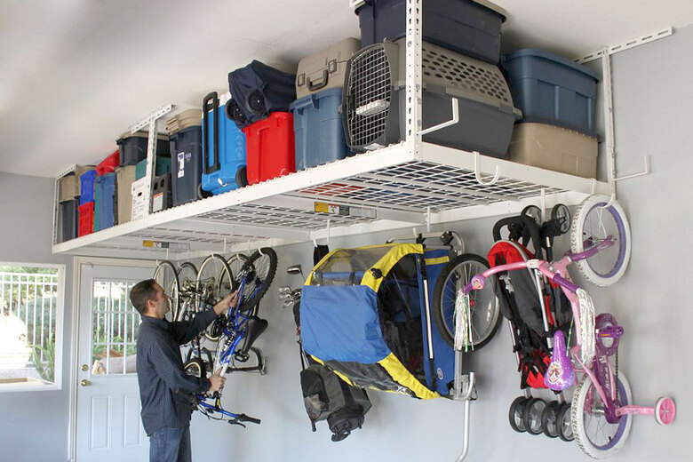 SafeRacks' overhead storage systems can be used to maximize space in garages, says Lynnwood-based organizer Linda Deppa. (Courtesy of SafeRacks)