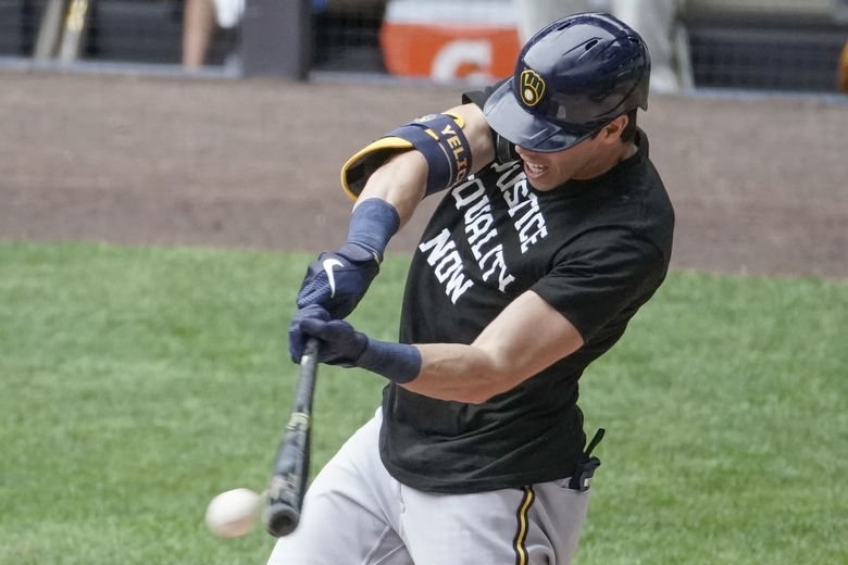 Milwaukee Brewers' Christian Yelich grounds into a double play to end an intrasquad game Tuesday, July 21, 2020, at Miller Park in Milwaukee. (AP Photo/Morry Gash)